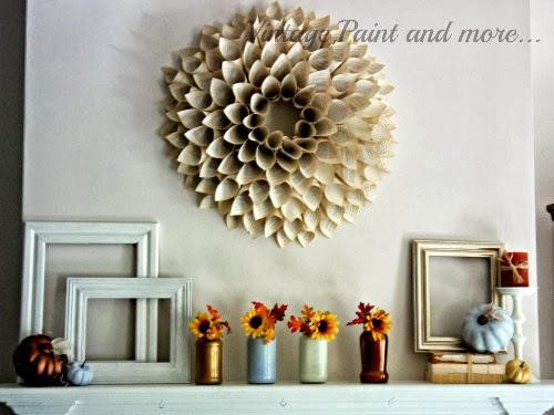 fall mantel with paper cone wreath, diy painted mason jar vases