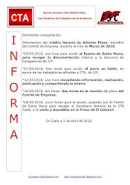 C.T.A. INFORMA CRÉDITO HORARIO ANTONIO PÉREZ, MARZO 2018