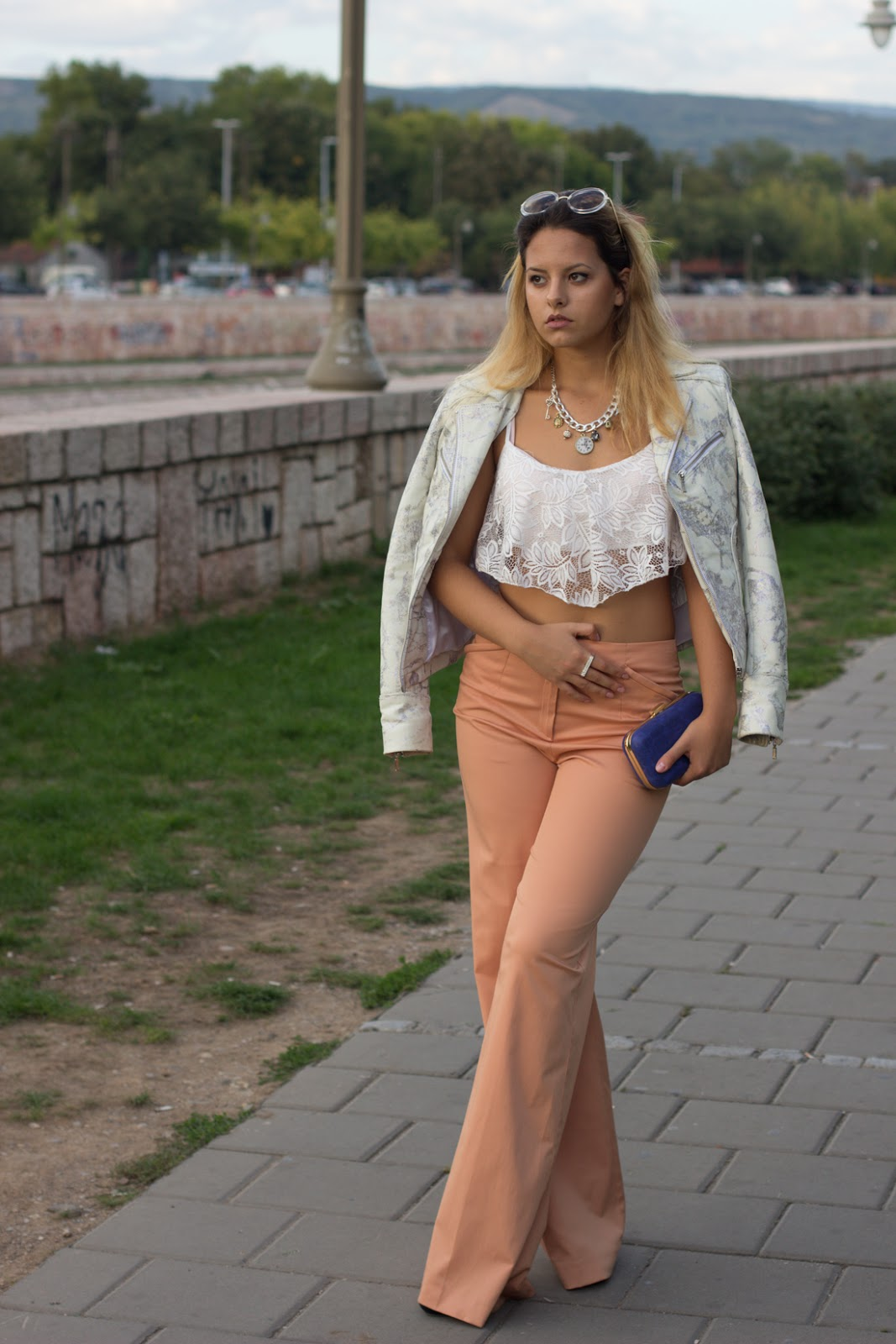 lace top and wide pants