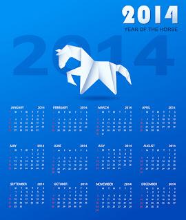 馬の折り紙2014年カレンダー Calendar paper horse イラスト素材