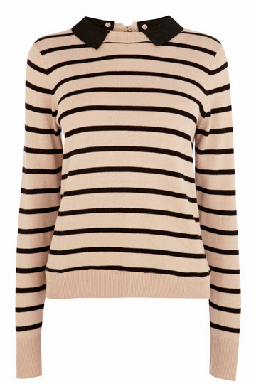 striped top with collar