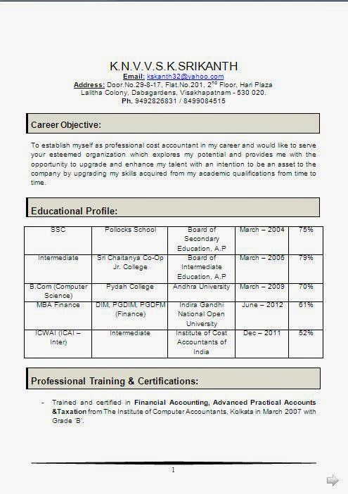 MBA Finance Experience Resume Format