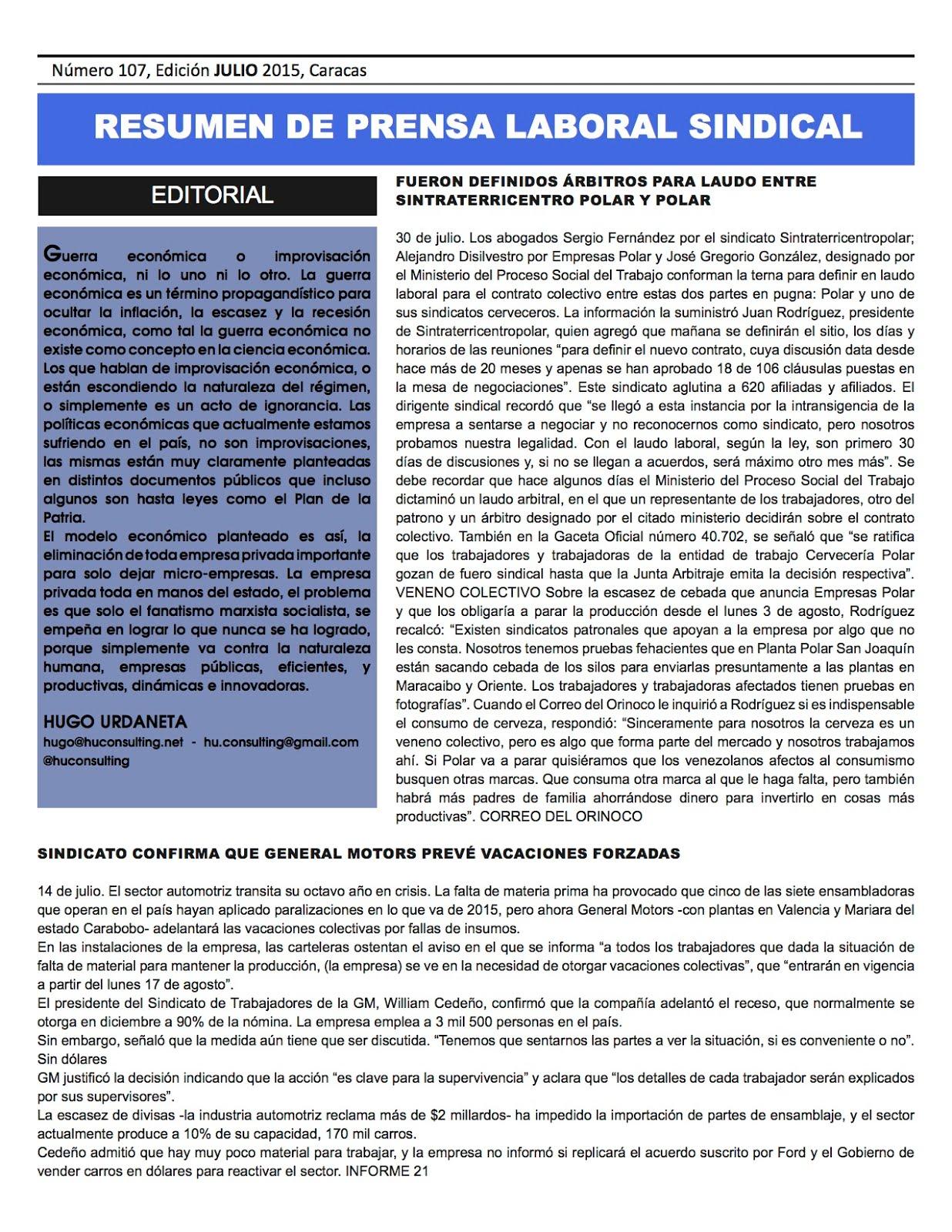 Resumen De Prensa Laboral Sindical Julio 2015