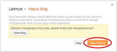 Cara Menghapus Blog dan Mengembalikan Blog yang terhapus