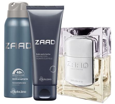 O Boticario presente masculino kit Zaad EAU de Parfum desodorante balm após barba