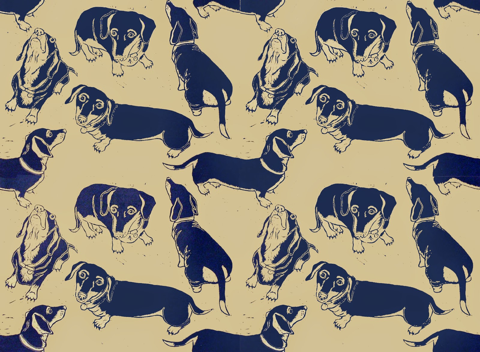 Dachshund linocut print as repeat pattern