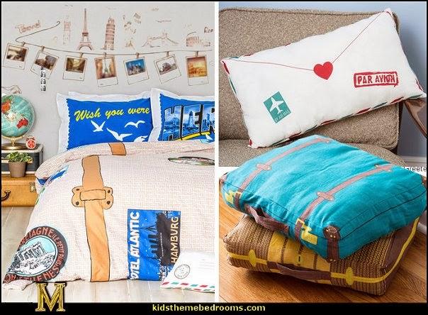 Overnight Flight Duvet Cover Set Travel Theme Bedding