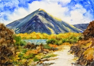 Wonderful Landscape mountain, path and foliage  Watercolor Painting on paper size 29.5 x 42 cm