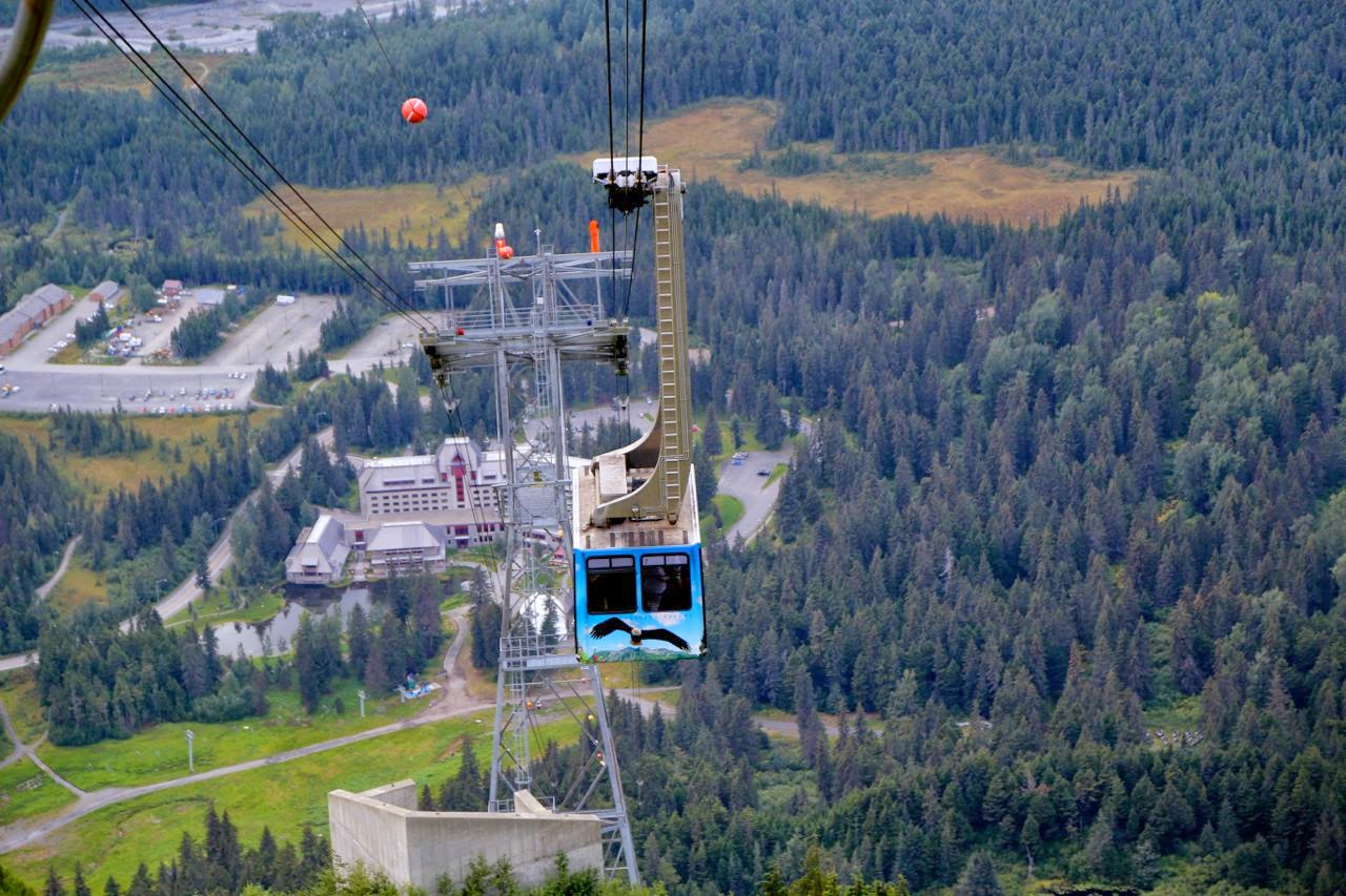 Cable car up to 7 Glaciers restaurant, Alaska