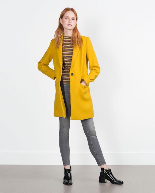 mustard zara coat