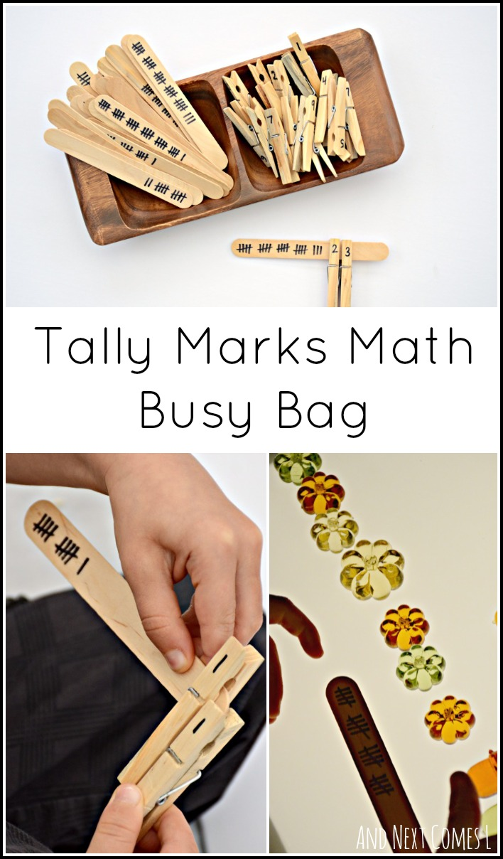 Simple math busy bag for elementary kids to practice math concepts such as skip counting and tally marks from And Next Comes L