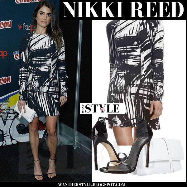 Nikki Reed in black white abstract prin kaufmanfranco mini dress and black sandals what she wore comic con 2015