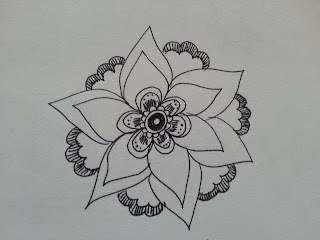 Flower in black ink