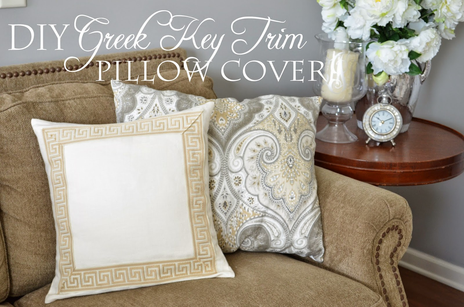 The Cheerful Home: DIY (no sew!) Greek Key Trim Pillow Covers