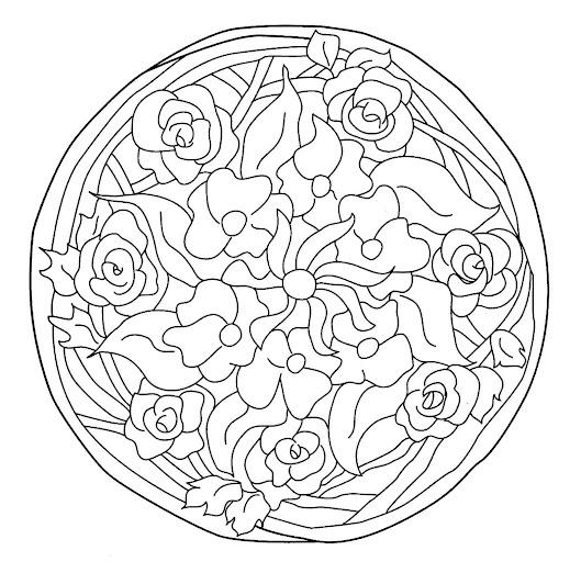 Mandalas de flores y hojas para pintar | Mandalas Para Pintar