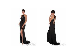 vestido negro sibalen de corte