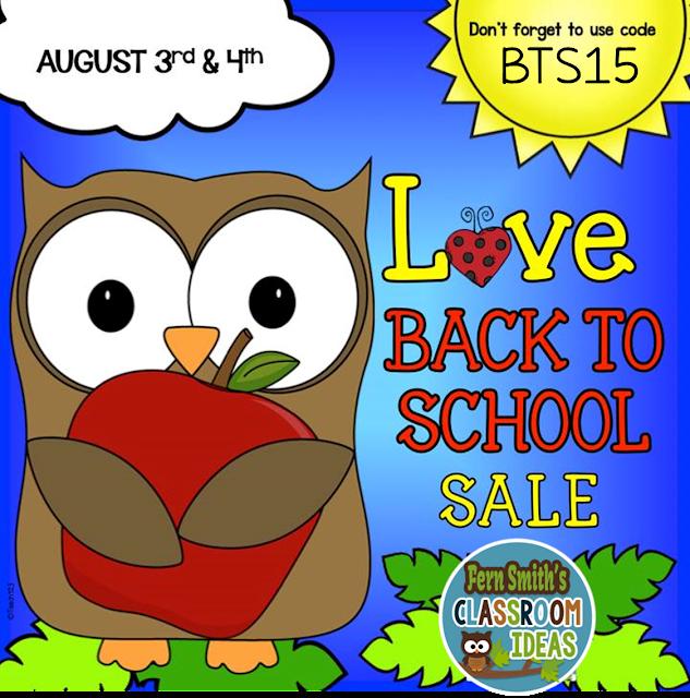 Fern Smith's Classroom Ideas TeachersPayTeachers Back to School Sale and Discount Code BTS15.