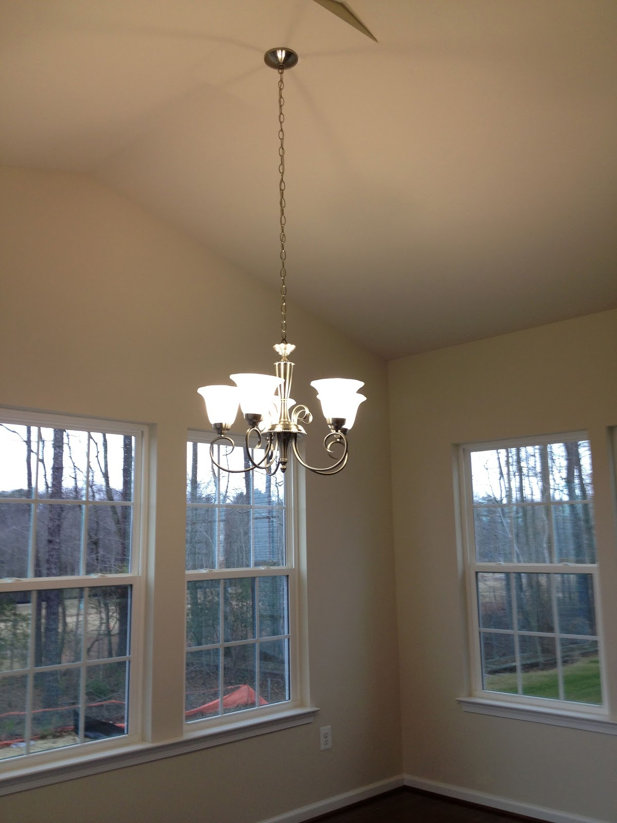 Ceiling fans and chandelier installed! | Dreaming of a Ryan Homes ...:Morning Room: Portfolio 5-Light Brushed Nickel Chandelier,Lighting