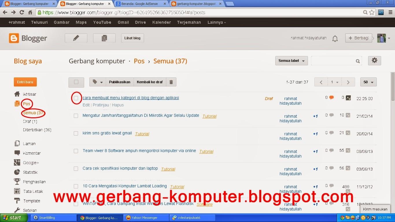 cara membuat menu kategori di blog dengan aplikasi label pada blog