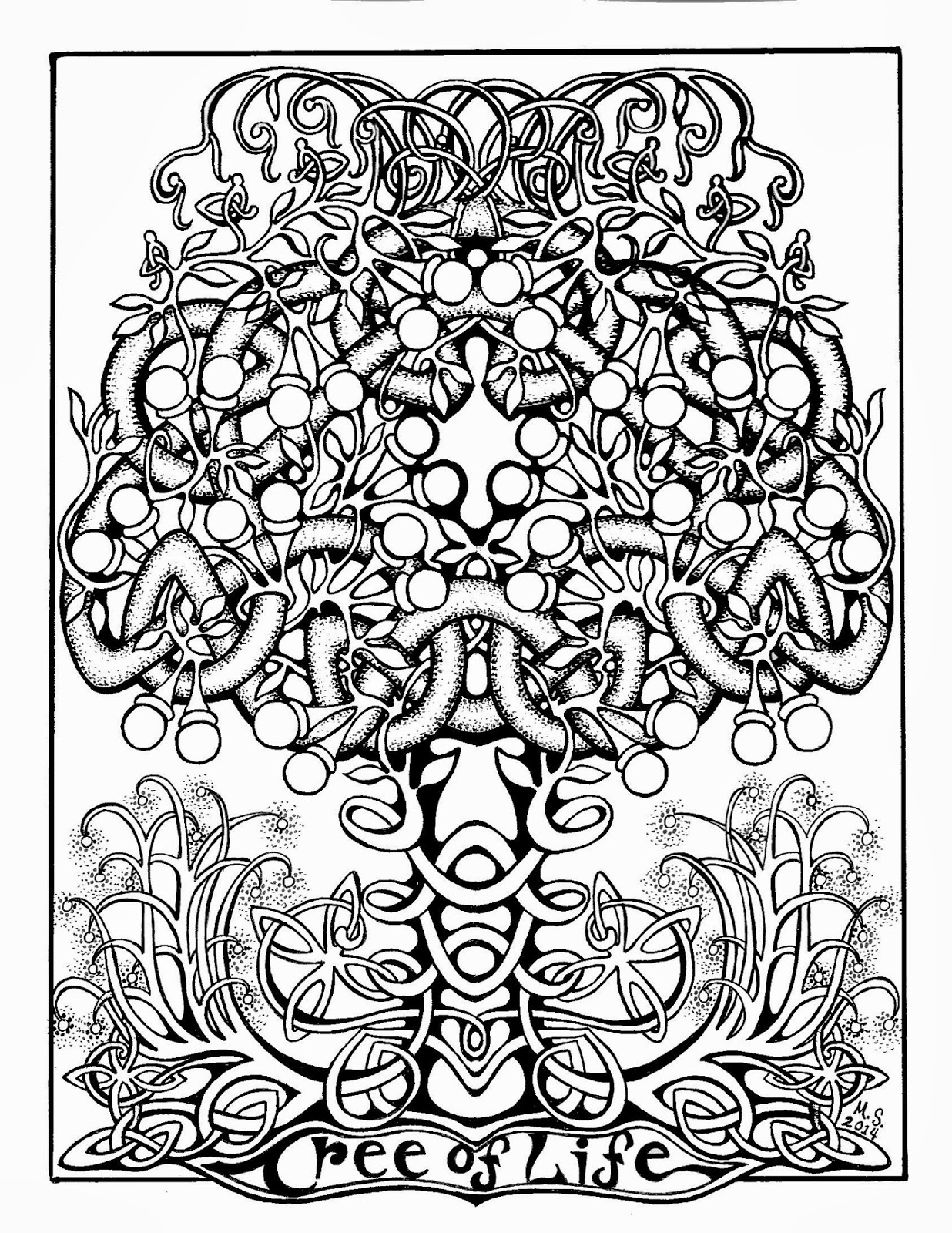 cut paste and color the tree of life coloring page some celtic fun
