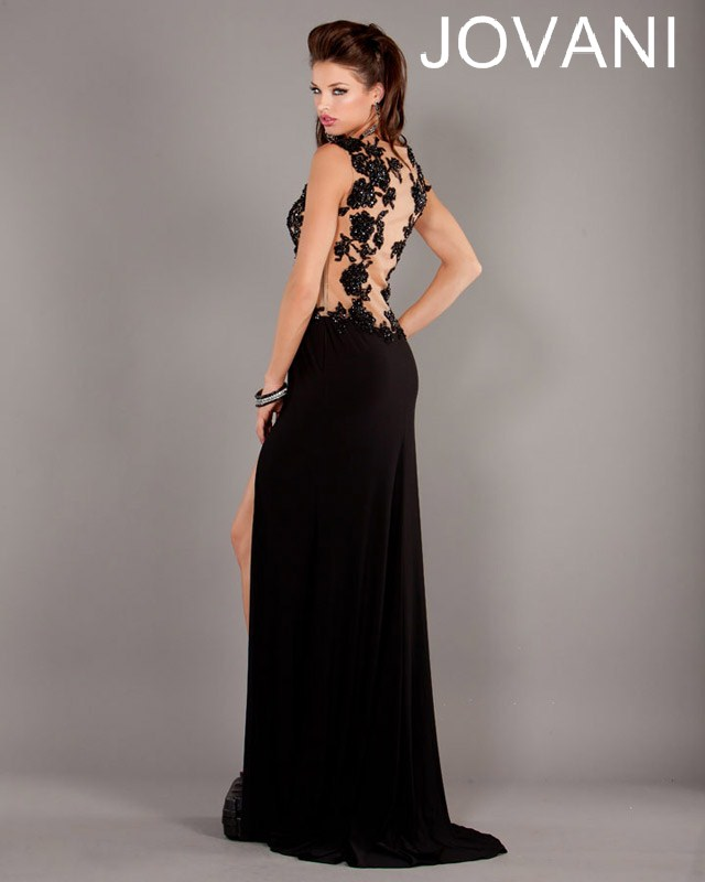 Jovani Prom Dresses 2013 long black lace split