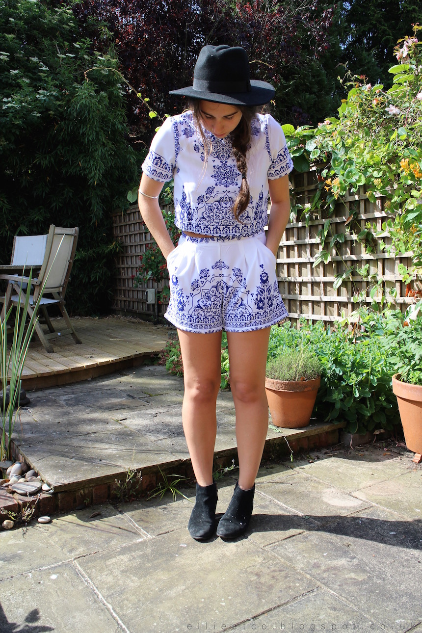 Oh Polly, co-ord, fashion, ootd, outfit, fedora hat, brocade, sponsored, collaboration, paisley, two-piece, summer