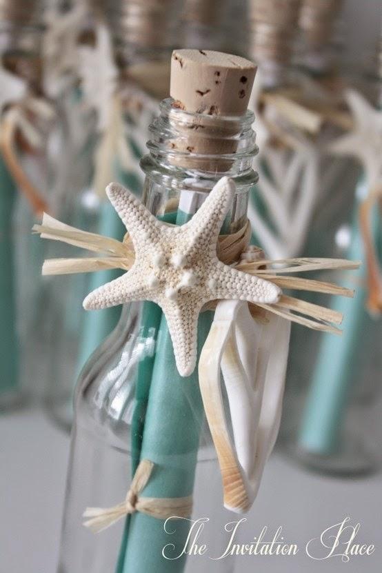 Invitación de boda en una botella