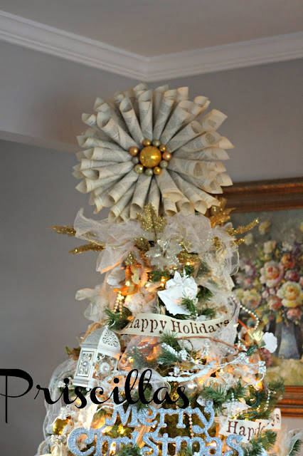 Book Page Tree Topper - Priscillas