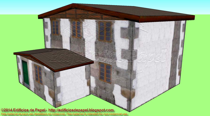 Large cottage in brown paper model