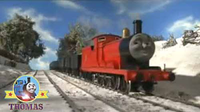Thomas tank James the red engine arrive at the top of main line express Gordon's hill tracks icy