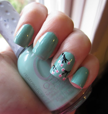 Orly Ancient Jade Cherry Blossoms Nail Art