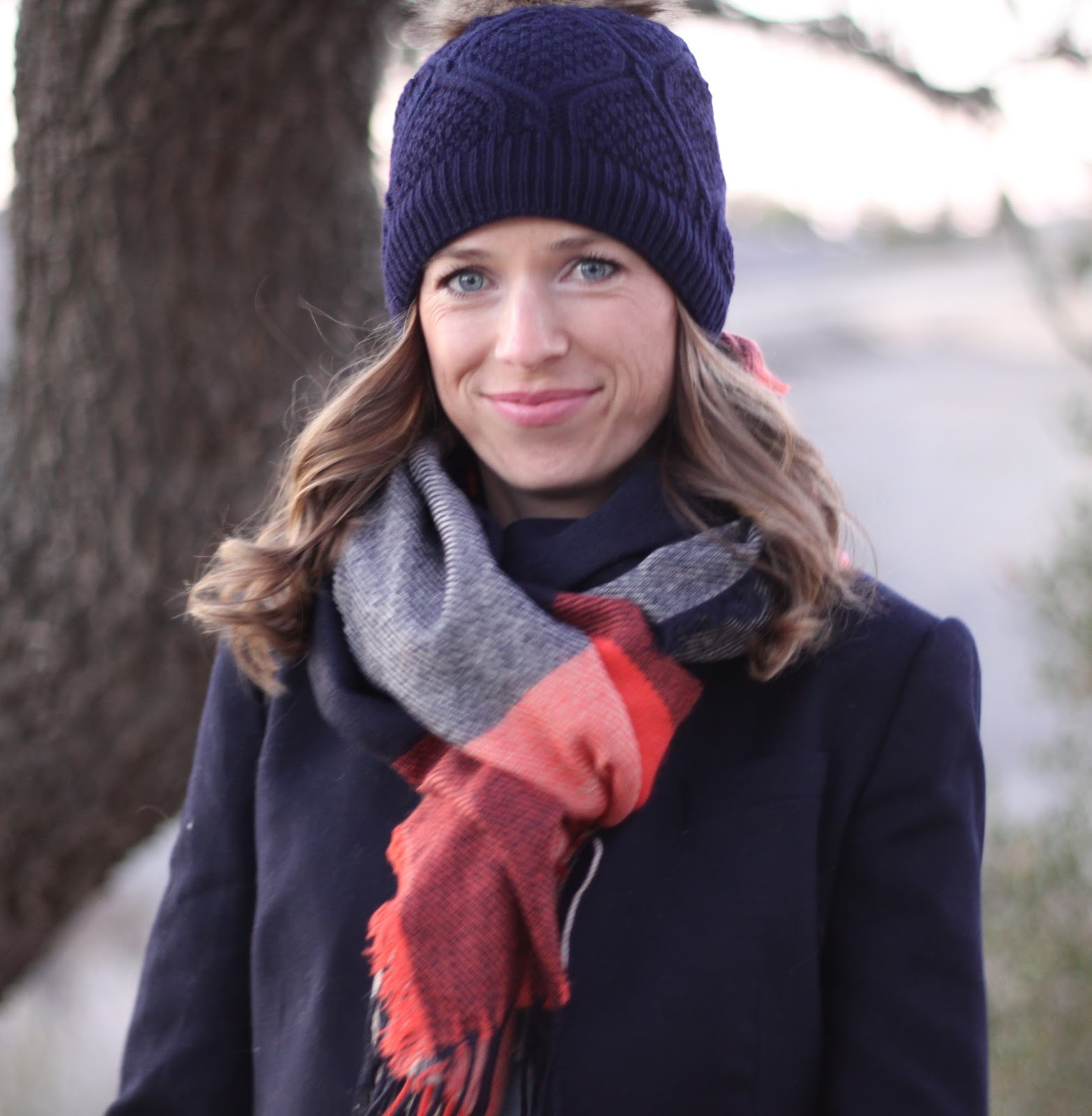 navy scarf and beanie