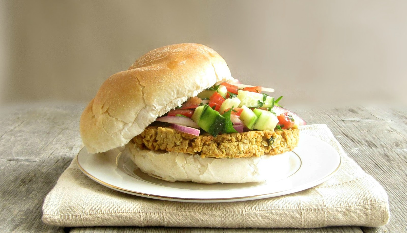 Hungry Couple: Chickpea Burger with Israeli Salad