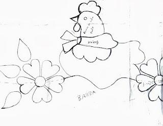 risco galinha com barrado de flores para pintar