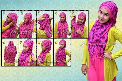 Cara Memakai Jilbab Pashmina Polka Pink Style