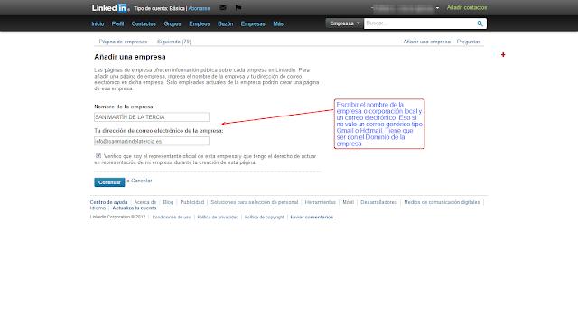 COMERCIO LEÓN - Como crea una página de empresa en LinkedIn - 1º nombre correo