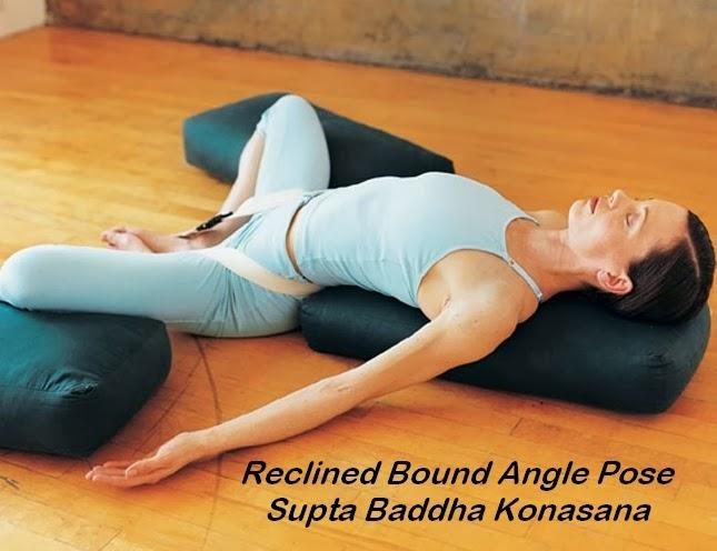 Reclined bound Angle pose (Supta Baddha Konasana), yoga for beginners blog