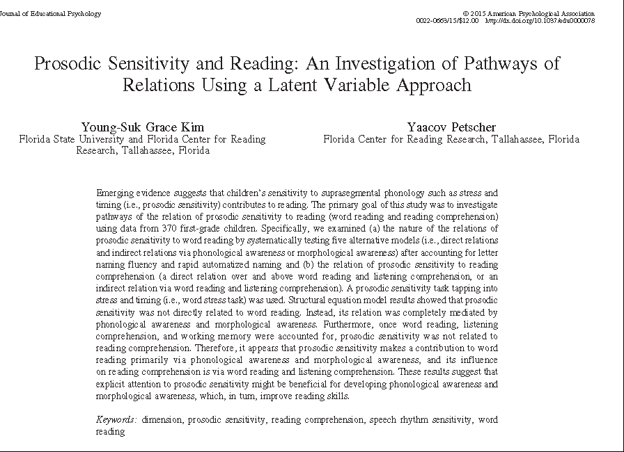 relations between phonological and prosodic sensitivity A growing literature has demonstrated that prosodic sensitivity is related to reading development however, research investigating the relationship between prosodic sensitivity and reading development in the period prior to reading instruction is sparse.