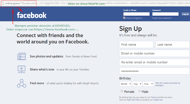 Pagina falsa simula ser Facebook para robar cuentas - MasFB