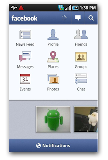 Android Facebook Update Screen shot