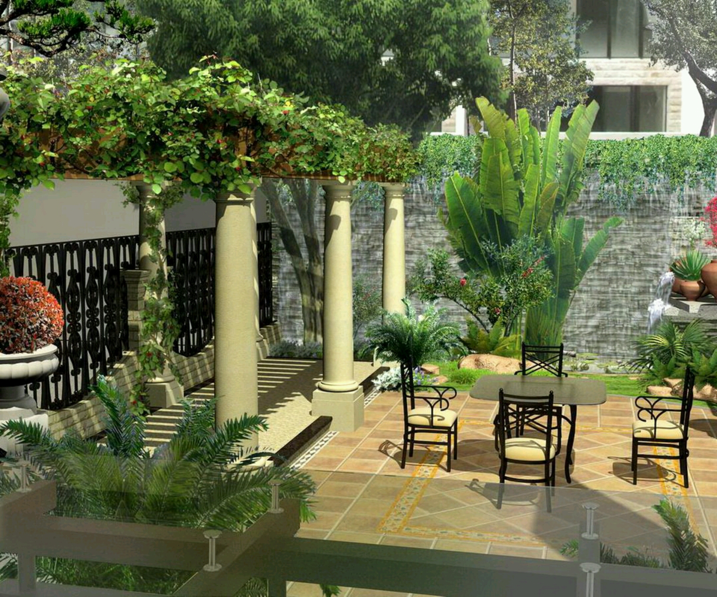 New home designs latest modern homes gardens designs for Home garden design in pakistan
