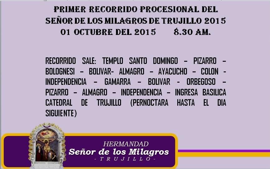 PRIMER RECORRIDO PROCESIONAL 2015