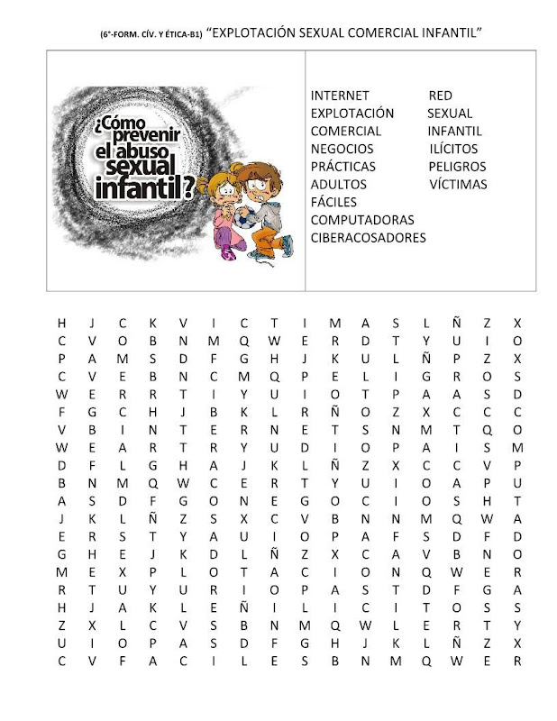Sopa de letras sobre el abuso sexual infantil