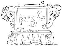 Mewarnai Gambar Kartun Anak TK Bermain Di Dekat Papan Tulis