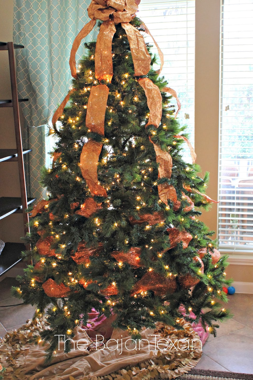 all done three rows of copper mesh - How To Decorate A Christmas Tree With Deco Mesh