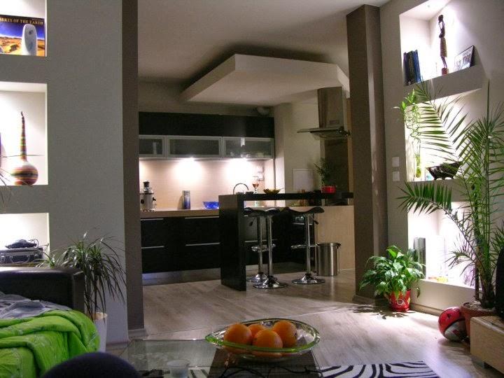 Модерна всекидневна с трапезария и кухня
