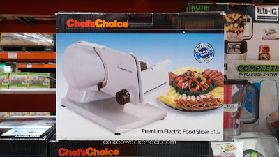 Use the Chef's Choice Premium Electric Food Slicer (model 6102) to thinly slice meat