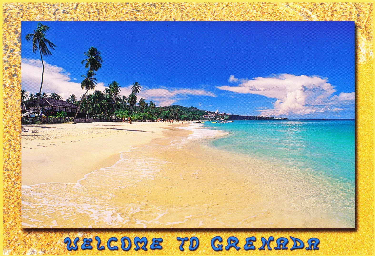 postcard, grenada, beach