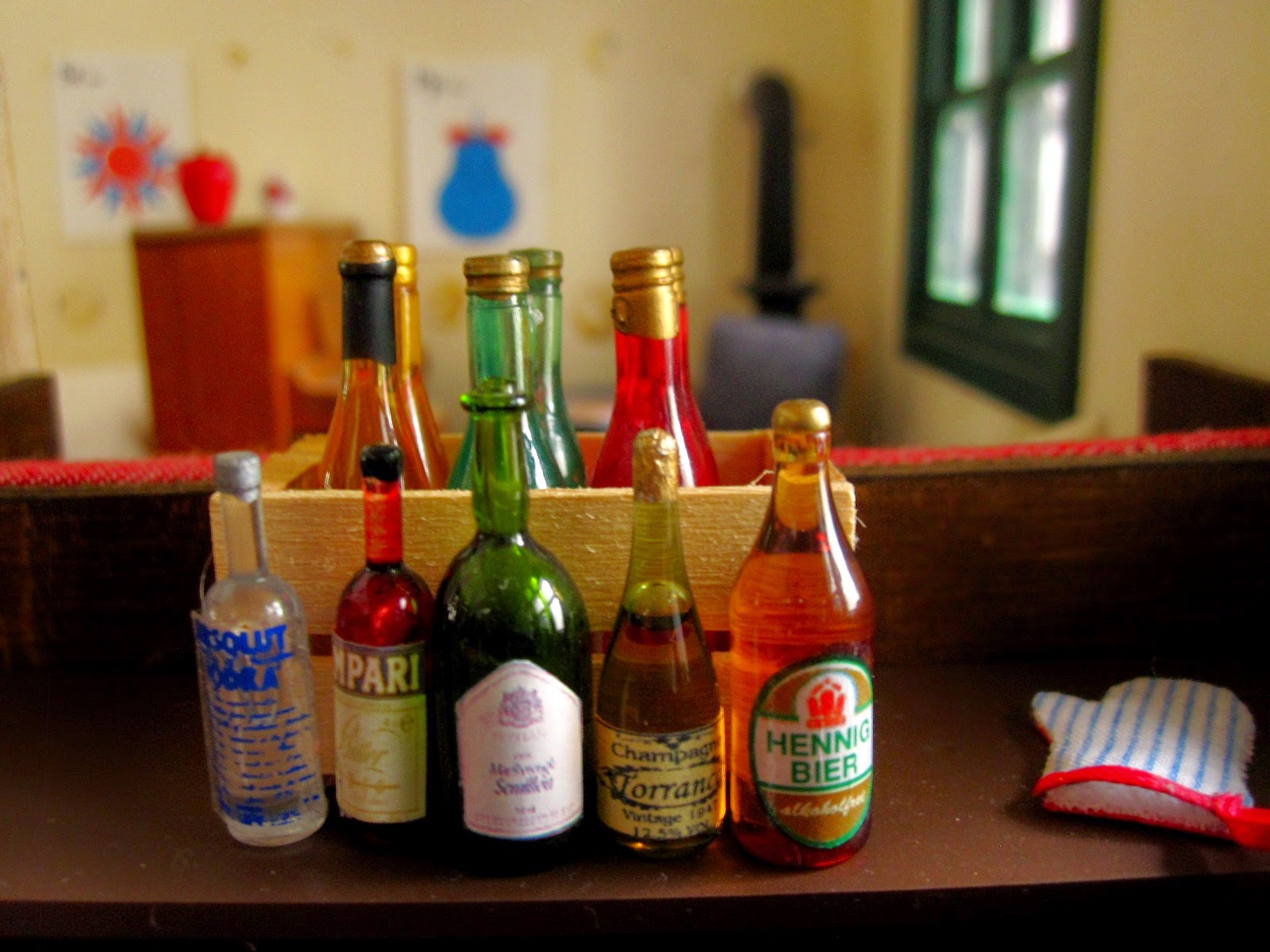 A selection of bottles of miniature alcohol.