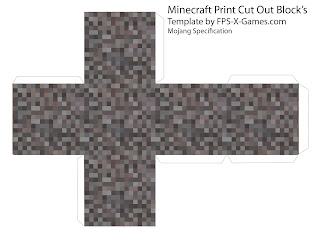 Papercraft template Minecraft gravel block cut out